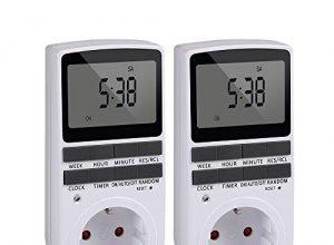 Intelligente Zeitschaltuhr Steckdose LCD-Display 10 Gruppen von 24/7 programmierbaren EIN-AUS-Einstellungen  AC230V / 50Hz Maximallast 16A / 3680W 2 Packs Weiß