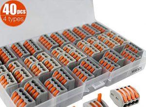 40Pcs Lever Nuts Verbindungsklemme Set, Leiter-Klemme kompakten steckklemmen, Terminal Block Wire Push Kabelverbinder — 2 Polig 10Pcs, 3 Polig 10Pcs,4 Polig 10Pcs, 5 Polig 10Pcs
