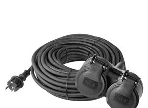 EMOS Verlängerungskabel mit 2 Schuko Steckdosen, 10 m, Doppel-Verlängerung, 2 Schutzkontakt Buchsen, Gummi-Kabel für den Außenbereich, IP44, H07RR-F3G 1,5 mm2