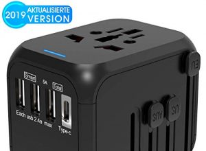 CHUNNUO Reiseadapter Universal Reiseadapter Aktualisierte Version Weltweit Reisestecker 3 USB + 1 TYP C + AC Adapter Steckdosenadapter EU UK USA AU Stecker Stromadapter für 180+ Ländern