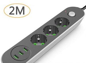 Steckdosenleiste 2M, Joyguard Mehrfachsteckdose mit USB Steckdosenleiste mit USB Steckerleiste mit Kindersicherung Mehrfachstecker Mehrfachstecker für Steckdose 2M Kabel, 3USB
