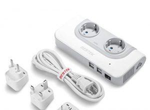 BESTEK 200W Spannungswandler mit 4 USB Reiseladegerät 110v auf 230v Reiseadapter Stromwandler mit austauschbare UK, EU, AU Reisestecker für Reisen nach USA, JAP, KAN, AUS, China,Thailand weiß