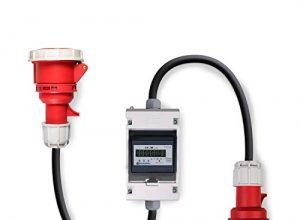 Swissnox Digital Stromzähler Zwischenstecker Box 400V / 16A CEE-Stecker Und Kupplung. Wattmeter Energiezähler Zwischenzähler Starkstromzähler IP55 Gehäuse. Made in Germany