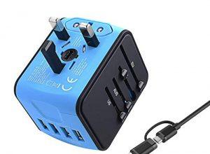 VGUARD Universal Reiseadapter, Weltweites Reise Ladegerät mit 4 USB Ports Ladegerät Reisestecker International Stromadapter Stecker für Europa Deutschland UK Australien USA Asien Thailand China -Blau