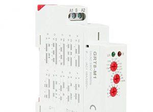 Multifunktions Zeitrelais, AC 220V GRT8-M1 Analog Einstellbare Verzögerung Relais mit 10 Funktionen zur Auswahl der Hutschienenmontage für Treppenlichtzeitschalter, Industrielle Beleuchtungssteuerung