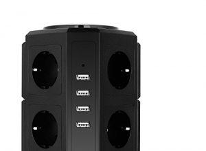 HOVNEE Steckdosenleiste Mehrfachsteckdose 8 Fach Steckdosenturm 2500W/10A mit 4 USB Ladeanschlüsse und 2,0 m Kabel  5V/4,5 A ,Überspannungsschutz und Kurzschlussschutz,Schwarz
