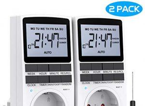 RATEL Digitale Elektronische Zeitschaltuhr Steckdose, 10 Programmierbarer Plug-In-Timer-Schalter mit Reset-Tool, LCD Display und Anti-Theft-Zufallsmodus für Beleuchtung, Lüfter usw 2er Sets