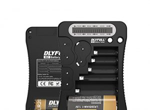 DLYFULL B2 Universal Batterietester mit LCD-Display für AA, AAA,C,D,9V Digitaler Testgerät für CR123A,CR2,CRV3,2CR5,CRP2 Batterie Testgerät für 1.5V und 3V Knopfzellen AAA-Akku enthalten Schwarz