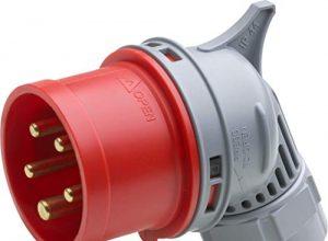 Maximaler Kabelquerschnitt 2,5 mm² flexible Adern & 4,0 mm² starre Adern – IP44 Außenbereich / Starkstrom-Stecker / 7424050 – 16 A – 400 V – 5-polig – Meister CEE-Winkelstecker – rot