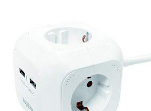 LogiLink LPS227 4+2 4x Schutzkontakt CEE 7/3, 2x USB Power Cube Multifunktionssteckdose mit Kindersicherung Weiß