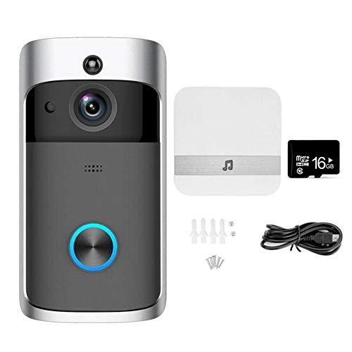 NANTING Wireless Video-Türklingel – 720p HD-Video, bidirektionale Kommunikation, 166 ° Weitwinkel-Nachtsicht-PIR-Bewegungserkennung, WLAN, APP-Steuerung für iOS Android Schwarz