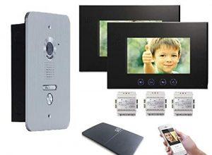 """4 Draht Türsprechanlage Gegensprechanlage Video Bildspeicher mit 2×7"""" LCD Monitor WLAN Schnittstelle"""
