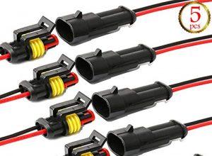 YETOR Way Auto Wasserdichter elektrischer Steckverbinder, 2 pin Stecker Autoelektrischer Kabelverbinder mit Kabel 16 AWG Marine für Auto, LKW, Boots- und andere Kabelverbindungen. 5 Pack