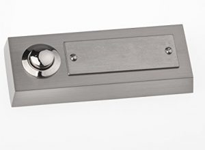 HUBER Klingel Klingeltaster 12011, 1-fach aufputz, rechteckig, Echtmetall, mit Edelstahl Namensschild