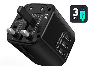 Elektro Adapter mit 3 USB und AC Steckdose, Internationaler Strom Adapter für 150+ Ländern USA European Australien Neuseeland Israel – Reiseadapter Weltweit Universal Reisestecker Steckdosenadapter
