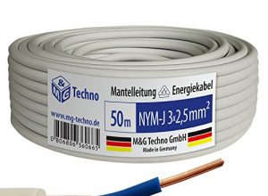 50m NYM-J 3×2,5 mm² Mantelleitung Elektro Strom Kabel OFC MADE IN GERMANY, Model 7345