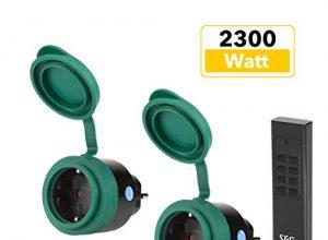 SEC24 – Funksteckdosen Set 2+1, für den Außenbereich / Outdoor, 2300 Watt, Plug & Play Funkschalt Set, Premium-Qualität, 24 monate garantie, schwarz/grün matt, Spritzwassergeschützt – HAF780S