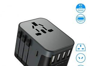 Apiker Reiseadapter Reisestecker Weltweit mit 4 USB Ports und Type C Internationaler, Universal Travel Adapter mit Ersatz Sicherung über 200 Ländern z.B Europa Deutschland UK Australien USA-Grau