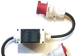 Naka24 241201/S Stecker und Steckdose 5×2,5mm mit 3 Sicherungen je 32A auf 16A mit Phasenwender CEE Starkstrom Adapter, 6400 W, 1000x80x100