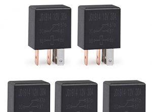 Ehdis 5 Pin 12VDC 30A SPDT Multi-Purpose Relay Heavy Duty Standard-Relay-Kit, 5 Stück