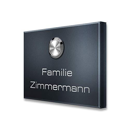 110 x 80 x 11 mm inkl. 2 Empfänger – Anthrazit RAL 7016 – Steckdosen-Empfänger, 12V, UV-beständig – Edelstahl Funk-Klingel