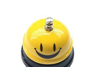 J Robin Tischglocke Rezeptionsklingel Metall Verchromte Tischklingel mit klarem Klang für Hotels & Bars Service Smiley-Gesicht
