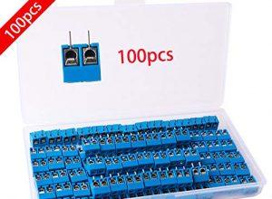 RUNCCI 100 Stücke 5mm 2 Pin PCB Mount Screw Terminal Block Schraubklemme Steckverbinder Blau für Arduino 300V 15A