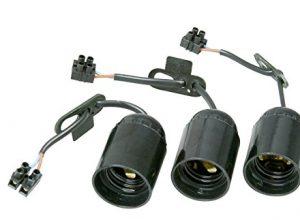Renovier-Fassung, vormontiert mit ca. 13 cm sichtbarer Leitung H03VV-F 2×0,75mm², Lüsterklemme und Zugentlastung, 3 Stück in Verpackung, E27, max.60W, Farbe schwarz