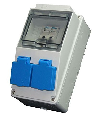 ELO5/1 Baustromverteiler / Wandverteiler 2 SCHUKO 230V -16A + 2 x MCB C 16A