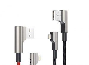 AUKEY Lightning Kabel 90 Grad Winkel Stecker 1m – 2 Stücke Nylon Apple MFi Zertifiziert Ideal zum Spielen Metallgehäuse iPhone Kabel für iPhone XS/Xr/X / 8/6, iPad und Andere Apple Geräte