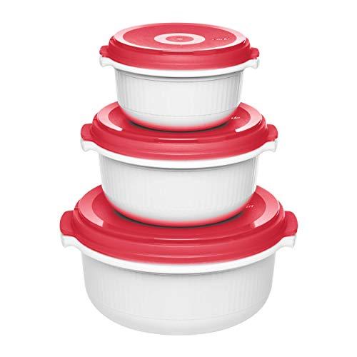 Emsa 518999 Micro Family Mikrowellengeschirr, Set 3-teilig, weiß/rot