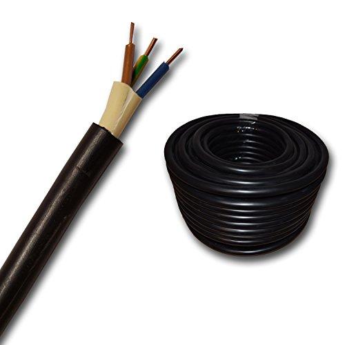 25 m – 35 m – Auswahl in 1 Meter Schritten – KOSTENLOSER VERSAND – 50 m usw. – Erdkabel NYY-J 3×1,5 mm² mm2 Meterware auf den Meter genau: Starkstromkabel – Beispiel: 20 m – PVC Erdleitung schwarz