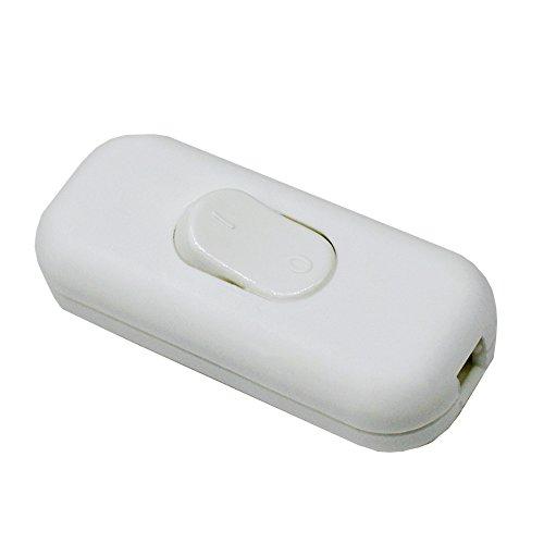 Schnurzwischenschalter Weiß Matt für 2-adrige und 3-adrige 2G/3G Zuleitungen u. Anschlusskabel Stromkabel 300Volt Zwischenschalter mit Wippe EIN/AUS Schalter 1/250V