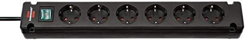 Brennenstuhl Bremounta Steckdosenleiste 6-fach Steckerleiste mit Befestigungsmöglichkeit, 3 m Kabel und Kindersicherung schwarz