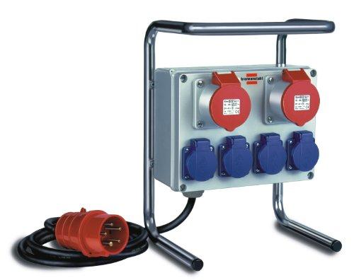 Kompakter Kleinstromverteiler BKV 2/4 G IP44 / Baustromverteiler mit Stahlrohrgestell 2m Kabel, für ständigen Einsatz im Außenbereich IP44