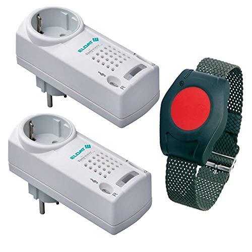 Pflegeruf-Set / Hausnotruf / Senioren-Hausalarm / Senioren-Sicherheitspaket 5 – mit Funk-Armbandsender und zwei Steckdosen-Empfängern mit Quittierungsfunktion