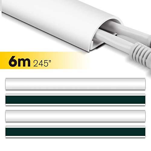 Kabelkanal, Stageek 6 Meter Mini Kabelabdeckung, Selbstklebender Runder Weißer Kabelkanal Kabelführung zum Verstecken von Kabeln, Kabelabdeckung für TV und Computer – 16 x 39 cm, Weiß