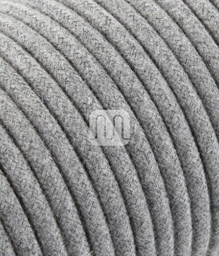 Textilkabel für Lampe, Stoffkabel 2-adrig 2×0,75mm² – Grau Baumwolle. Made in Italy 10 Meter