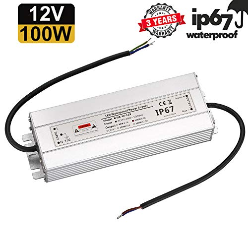 LED Trafo 12V 100W 8,3A IP67,geeignet für LED Stripes und Leuchtmittel,Upgrade Transformator Netzteil Driver 230V auf DC12V Wasserdicht