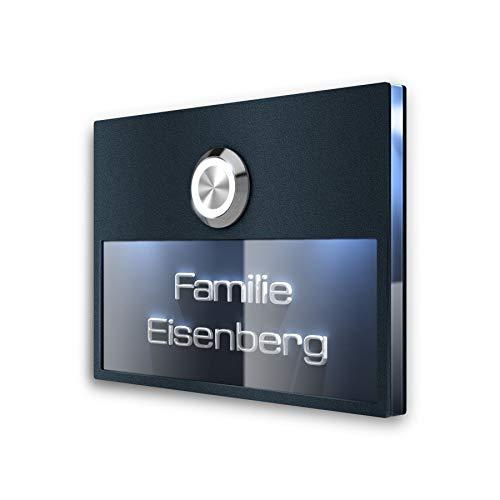 3D-Gravur Beschriftung – Türklingel Edelstahl Klingelschild LED-Klingeltaster & Beleuchtung – Klingelplatte Unterputz-Montage Anthrazit