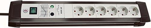 Brennenstuhl Premium-Line, Steckdosenleiste 6-fach mit Überspannungsschutz bis zu 30.000 A 3m Kabel und mit Schalter Farbe: lichtgrau / schwarz