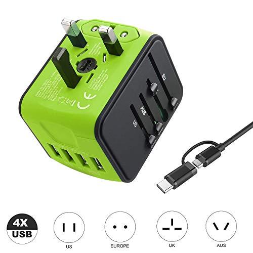VGUARD Universal Reiseadapter, Weltweites Reise Ladegerät mit 4 USB Ports Ladegerät Reisestecker International Stromadapter Stecker für Europa Deutschland UK Australien USA Asien Thailand China -Grün