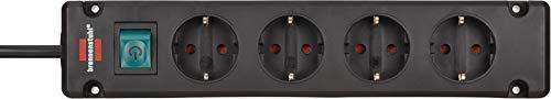 Brennenstuhl Bremounta Steckdosenleiste 4-fach Steckerleiste mit Befestigungsmöglichkeit, 1,5 m Kabel und Kindersicherung schwarz