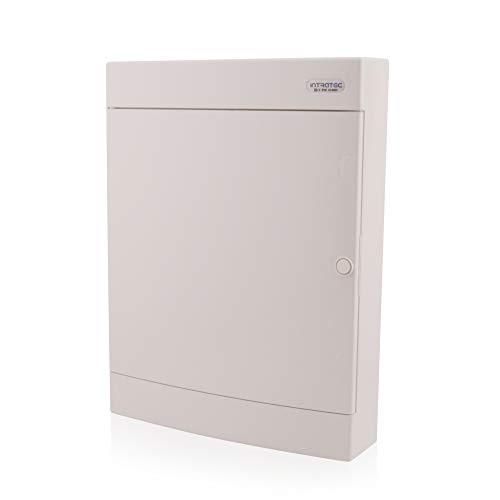 Sicherungskasten Aufputz 3-reihig für 54 Module mit DIN Schiene AP-Verteiler IP40 weiße Tür für die Trockenraum Installation im Eigenheim