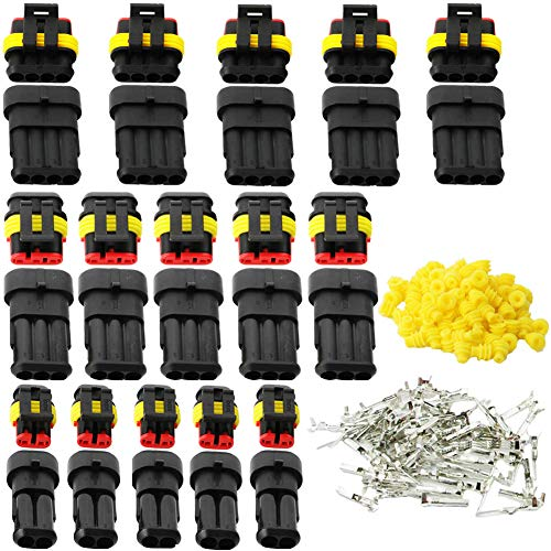 Fortspang Kfz-Elektrostecker, Motorrad-/Roller-/Auto-Wasserdichter Draht-Stecker, 15 Kits Crimpstecker, 2-poliger Stecker, 3-poliger Stecker