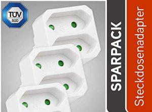 3er Pack Adapterstecker Mehrfachstecker – TÜV geprüfte Mehrfachsteckdose ohne Schalter, Belastbarkeit bis max. 1100W – HEITECH 2 fach Steckdosenadapter mit Kindersicherung