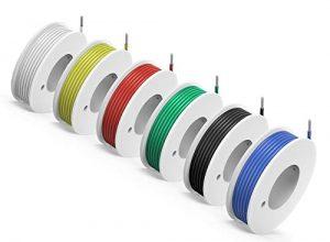 NorthPada 24 AWG 0,2mm² Elektronik Elektrischer Draht Kit Litzen Silikon Leitungen Draht Verzinntes Kupfer Kabel 6 Farbe Spule für Leiterplatte PCB 300V 2A 6 x 9 Meter