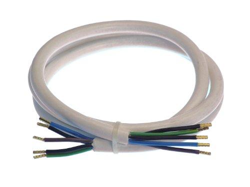 Weiß I 55202 – IP20 – Leitung 400 V, 16 A für den Innenbereich – as – 5 m Kunststoffmantelleitung mit beidseitigen 50 mm abgemantelt mit Adernhülsen – Schwabe Herd-Anschlussleitung