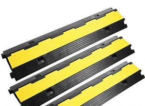 FlowerW 3er Pack für 2-Kanal Kabelbrücke Kabelbinder Schutz PVC Gummikabel Sockelprotektoren Unterstützt 11000 lb 5000 kg 3 x 2Kanäle
