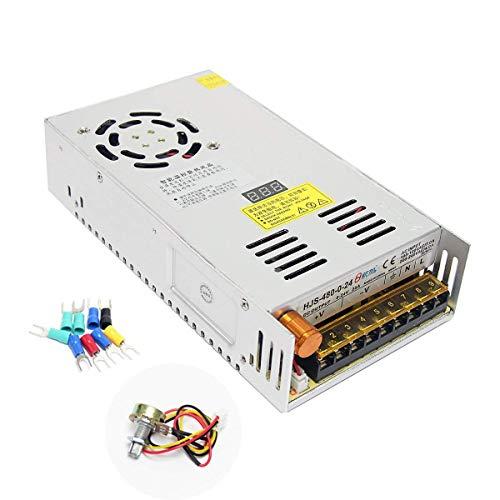 Wisamic Trafo Einbautrafo Netzteil Transformator Adapter Netzteil Schaltnetzteil Stromversorgung AC 110-220V/DC 0-24V 20A 480W für LED Beleuchtung Mit dem Digitalen Display